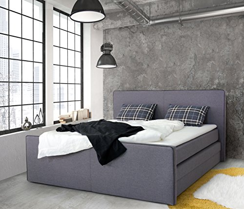 b famous missisipi boxspringbett stoff grau double 216 x 196 x 120 cm m bel24. Black Bedroom Furniture Sets. Home Design Ideas