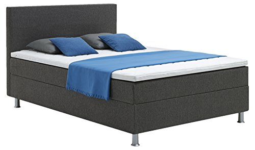 Atlantic Home Collection EDISON Boxspringbett, 140 x 200 cm, Härtegrad H2, inklusive Topper, grau