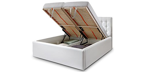 luxus polsterbett mit bettkasten molly xxl kunslederbett doppelbett ehebett wei 180x200cm. Black Bedroom Furniture Sets. Home Design Ideas
