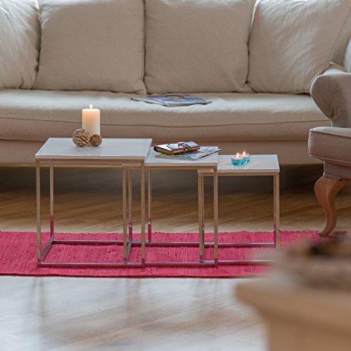 Relaxdays beistelltische 3er set couchtisch holz metall for Beistelltische 3er set modern
