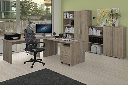 Arbeitszimmer 9-teilig - Möbel Komplett Set Phoenix in Sonoma Eiche Dekor inklusive Bürostuhl