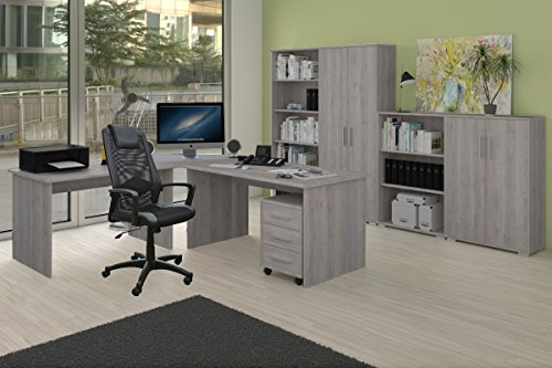 arbeitszimmer komplett set phoenix 9 teilig in sonoma eiche sorrento dekor inklusive b rostuhl. Black Bedroom Furniture Sets. Home Design Ideas