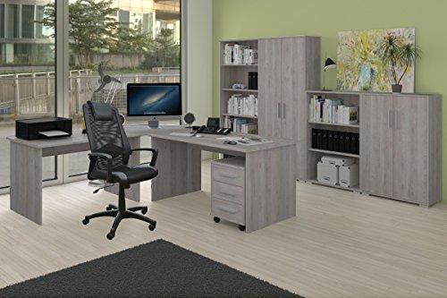 Arbeitszimmer Komplett Set Phoenix 9-teilig in Sonoma-Eiche / Sorrento Dekor inklusive Bürostuhl