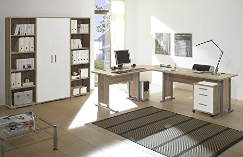 arbeitszimmer m bel komplett set b ro b rom bel office line in eiche sonoma weiss glanz 7. Black Bedroom Furniture Sets. Home Design Ideas