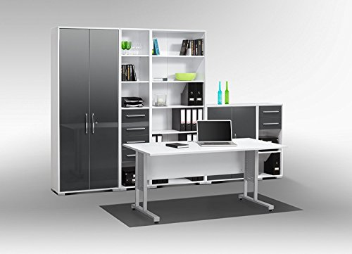 arbeitszimmer komplett set maja system 1200 b rom bel in icy wei grau hochglanz 6teilig. Black Bedroom Furniture Sets. Home Design Ideas