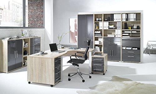 arbeitszimmer komplett set maja system 1203 brombel in eiche sonoma hochglanz grau 0 m bel24. Black Bedroom Furniture Sets. Home Design Ideas