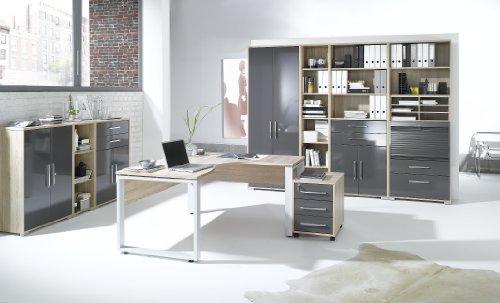Arbeitszimmer komplett Set MAJA SYSTEM 1205 Büromöbel in Eiche Sonoma / hochglanz grau
