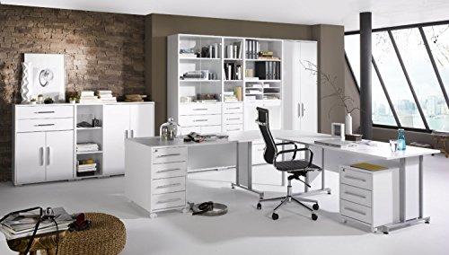 Arbeitszimmer komplett Set MAJA SYSTEM 1208 Büromöbel in Icy-weiß / weiß Hochglanz