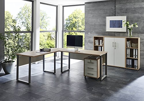 arbeitszimmer komplett set pro office set 2 mit winkelschreibtisch rollcontainer und. Black Bedroom Furniture Sets. Home Design Ideas