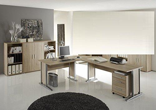 arbeitszimmer mit winkelschreibtisch komplett set office line mit highboard in eiche sonoma. Black Bedroom Furniture Sets. Home Design Ideas