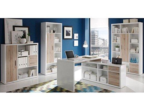 Büro Set Tokyo Büromöbel Komplett Komplettbüros Eiche San Remo Weiß