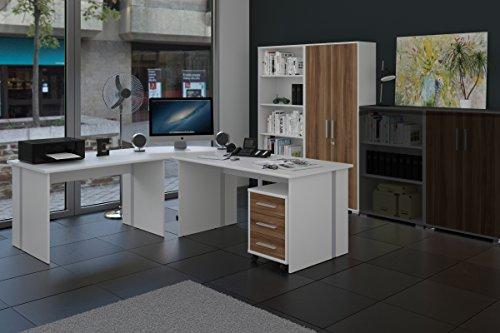 Büromöbel 6-teiliges Büromöbelset Weiß mit Nussbaum Fronten
