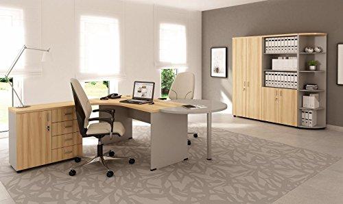 Büromöbel SET Komplett Modell N°Z-06L ULME VENETTIO + LICHTGRAU