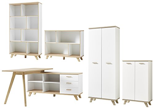 Germania 8693-221 5-tlg. Büromöbel-Set im skandinavischen Design GW-Oslo in Weiß/Absetzungen Sanremo-Eiche-Nachbildung, 250 x 193 x 350 cm (BxHxT)