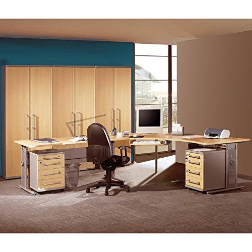 Komplett Büromöbel Set ● Holzoptik in Ahorn mit silber ● höhenverstellbare C-Fuß Schreibtische ● 2 Rollcontainer, 3 Aktenschränke ● Container & Aktenschränke abschließbar
