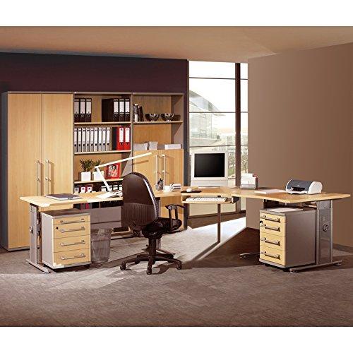Komplett Büromöbel Set ● Holzoptik in Ahorn mit silber ● höhenverstellbare C-Fuß Schreibtische ● 2 Rollcontainer, Aktenschrank, Kombischrank, Aktenregal ● Container & Aktenschränke abschließbar