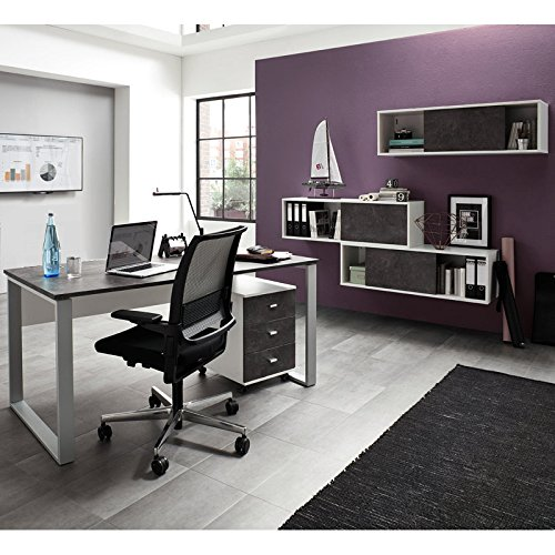 komplett b rom bel set wei basalto dunkel schreibtisch rollcontainer schiebet r aktenregale. Black Bedroom Furniture Sets. Home Design Ideas