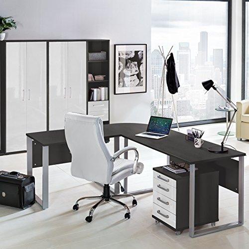 Komplett Büromöbel Set in anthrazit mit Hochglanz weiß ● Schreibtische mit Metallkufen-Gestell ● Rollcontainer, Aktenschränke und Aktenregale ● Made in Germany
