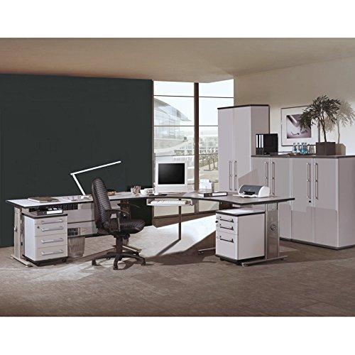 Komplett Büromöbel Set in lichtgrau ● ● höhenverstellbare C-Fuss Schreibtische ● abschließbare Container & Aktenschränke ● Made in Germany