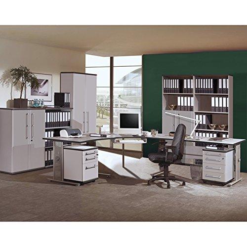 Komplett Büromöbel Set in lichtgrau ● ● höhenverstellbare Schreibtische ● Rollcontainer & Aktenschränke abschließbar ● Aktenregale Büroschrank Kombischrank