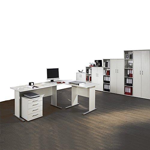Komplett Büromöbel Set in weiß ● C-Fuss Schreibtische ● Container, 4 Aktenschränke und 3 Aktenregale ● Made in Germany