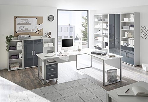 komplettes arbeitszimmer b ro m bel set komplettset office lux in lichtgrau glas graphit lack 9. Black Bedroom Furniture Sets. Home Design Ideas