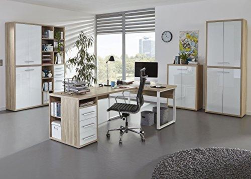 Komplettes Arbeitszimmer - Büromöbel Komplett Set Modell 2016 MAJA SET+ in Eiche Natur / Weißglas (SET 3)