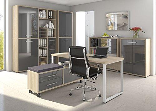 Komplettes Arbeitszimmer - Büromöbel Komplett Set Modell 2017 MAJA SET+ in Eiche Natur / Grauglas (SET 7)