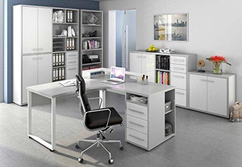 Komplettes Arbeitszimmer - Büromöbel Komplett Set Modell 2017 MAJA SET+ in Platingrau / Weißglas (SET 9)
