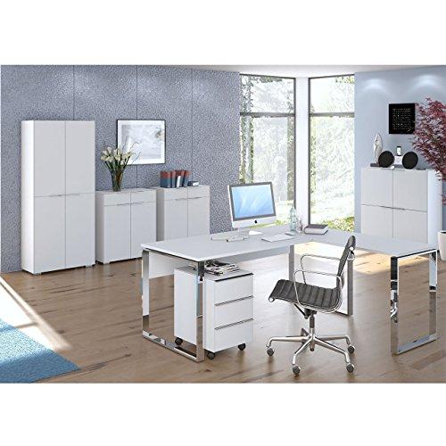Komplettes Arbeitszimmer - Büromöbel Komplett Set Modell MAJA YAS in Weißglas matt 7-teilig (SET 3) -auch in anderen Kombinationen sofort verfügbar
