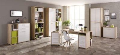 Komplettes Arbeitszimmer - Büromöbel Komplett Set Plus MAJA SET+ in Eiche Natur / Weißglas (SET 12)