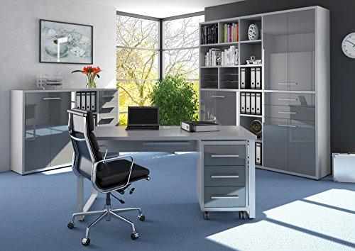Komplettes Arbeitszimmer - Büromöbel Komplettset MAJA SET + in Platingrau / Grauglas (Set 11) Modell 2017