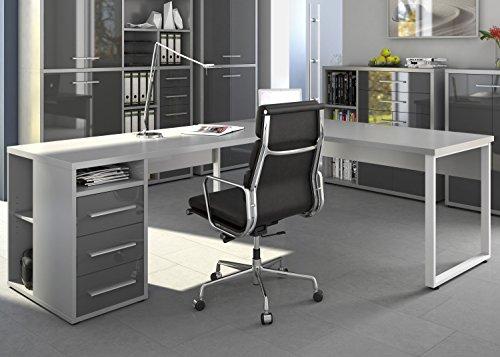 Maja Eckschreibtisch Winkelschreibtisch Schreibtisch Set Plus 1675 1679 Büromöbel in Platingrau / Grauglas Schenkelmaß 120x220 oder 220x120