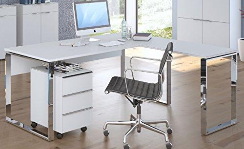 Maja Eckschreibtisch Winkelschreibtisch Schreibtisch YAS 1527 1529 Büromöbel in Weiß mit Ansetzplatte Weißglas Schenkelmaß 180x160,9 oder 160,9x180