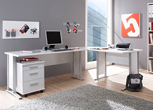 office line winkelkombination schreibtisch ecktisch tisch b rotisch in weiss weiss m bel24. Black Bedroom Furniture Sets. Home Design Ideas
