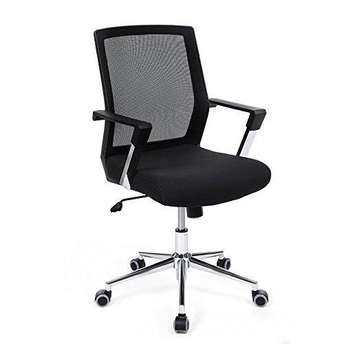 Songmics Bürostuhl mit Netzrückenlehne Chefsessel Bürodrehstuhl Drehstuhl höhenverstellbar Wippfunktion schwarz OBN83B