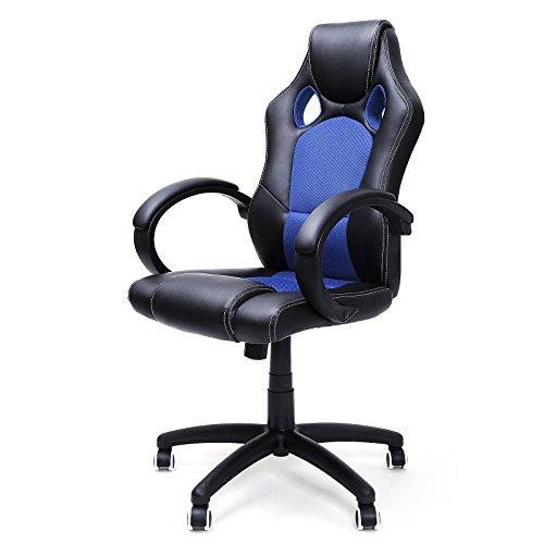 songmics racing stuhl brostuhl chefsessel drehstuhl pu schwarz blau obg56l 0 m bel24. Black Bedroom Furniture Sets. Home Design Ideas