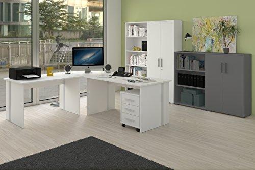 Weißes Büromöbel Set, 6-teiliges Arbeitszimmer