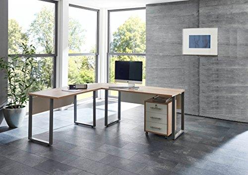Winkelschreibtisch Eckschreibtisch Schreibtisch mit abschließbarem Rollcontainer in Eiche Sonoma / Weiß
