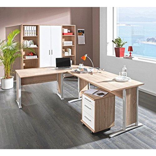 komplettes Arbeitszimmer mit Winkelschreibtisch Eckschreibtisch Schreibtisch Home Office Komplettset in Eiche Sonoma / Weiß