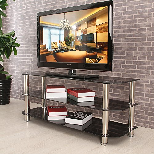 3 einlegebden high gehrtetes glas tv stehen schwarz farbe for Moebel24 shop
