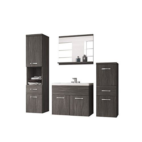 badmbel set bella i mit waschbecken und siphon modernes badezimmer komplett spiegel waschtisch. Black Bedroom Furniture Sets. Home Design Ideas