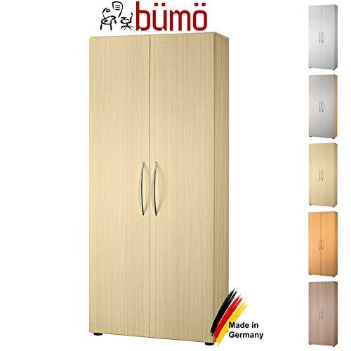 Bümö® Aktenschrank aus Holz | Büroschrank für Aktenordner | Flügeltürenschrank für Ordner | inkl. 4 Einlegeböden | in 8 Farben verfügbar