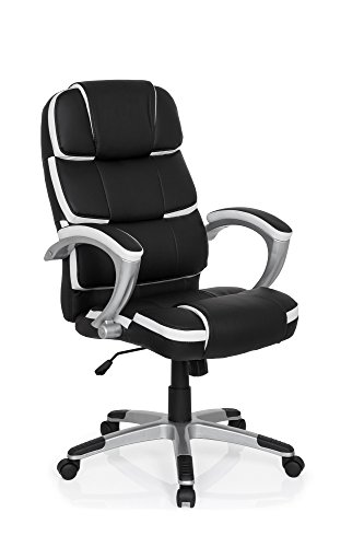 b rostuhl gaming pro by 100 kunst leder schwarz wei ergonomisch chefsessel sport sitz racing. Black Bedroom Furniture Sets. Home Design Ideas