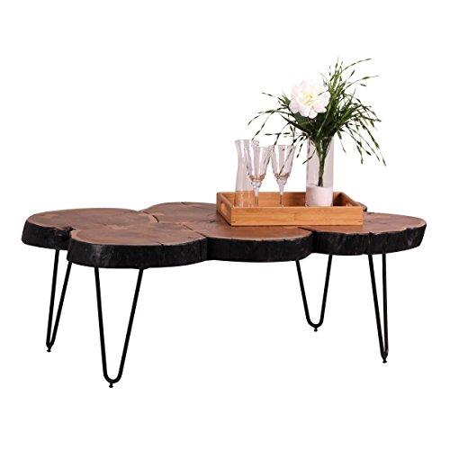 Couchtisch Massiv-Holz Akazie 115 cm breit Wohnzimmer-Tisch Design Metallbeine Landhaus-Stil Beistelltisch