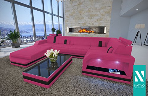 designer sofa kunstleder wohnlandschaft mesia xl mit led. Black Bedroom Furniture Sets. Home Design Ideas