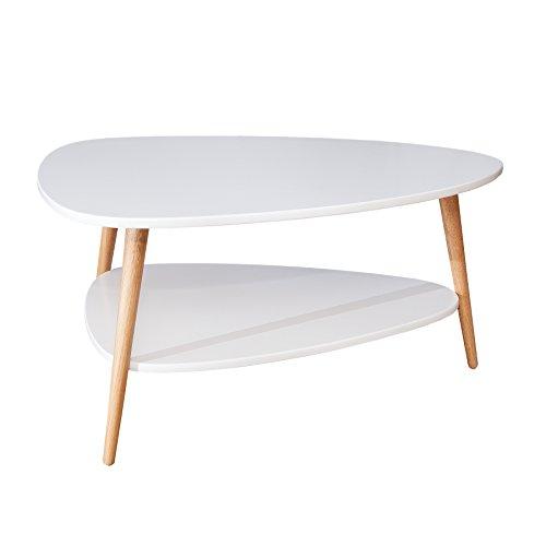 design retro couchtisch scandinavia wei eiche tisch wohnzimmertisch mit zustzlicher. Black Bedroom Furniture Sets. Home Design Ideas