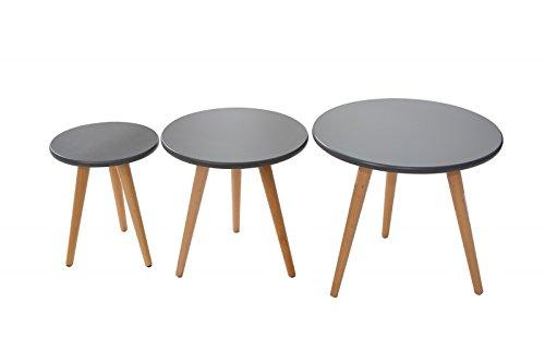 dunord design beistelltisch couchtisch 3er set stockholm graphit buche 70er retro design tisch. Black Bedroom Furniture Sets. Home Design Ideas