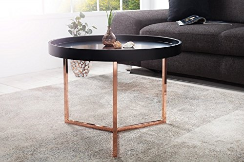 dunord design couchtisch beistelltisch triton 60cm schwarz kupfer retro design tablett tisch. Black Bedroom Furniture Sets. Home Design Ideas