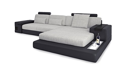 ecksofa couch leder wohnlandschaft stoffsofa schwarz grau eckcouch l form designsofa mit led. Black Bedroom Furniture Sets. Home Design Ideas